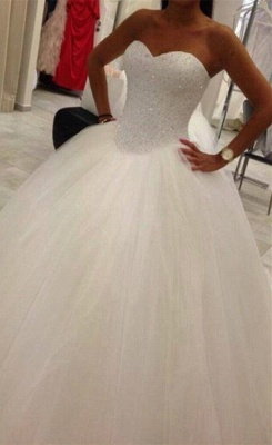 Elegant Sweetheart Tulle Wedding Ball Gowns Beading Sequins Bridal Dresses_1