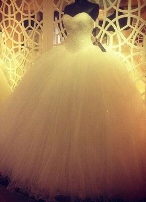 Elegant Sweetheart Tulle Wedding Ball Gowns Beading Sequins Bridal Dresses_4