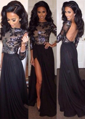 Sequins Long Sleeves Backless Prom Dresses Long Black High Side Slit Sexy Evening Gowns_1