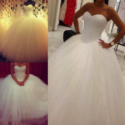 Elegant Sweetheart Tulle Wedding Ball Gowns Beading Sequins Bridal Dresses_3