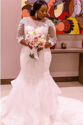 Appliques Tulle Mermaid See Through New Lace Half Sleeve Scoop Wedding Dresses Cheap Online_3