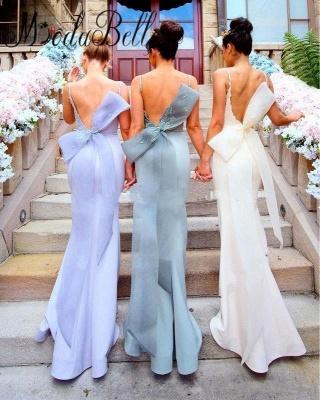 Fairy Mermaid Bowknot Open-Back Lace-Appliques Bridesmaid Dresses_2