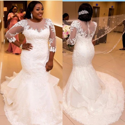 Appliques Tulle Mermaid See Through New Lace Half Sleeve Scoop Wedding Dresses Cheap Online_4