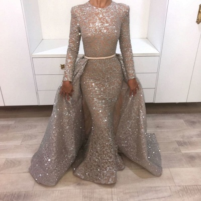 Sequins Prom Dresses with Train | Sparkly Evening Gowns with Belt_2