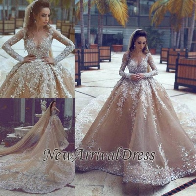 Sparkling Appliques Champagne Ball Gown Wedding Dresses |Luxurious Beads Sequins Long Sleeve Bridal Gowns_1