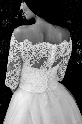 Ball Gown Simple Floor-length Half-sleeves Sexy Off The Shoulder Wedding Dresses_4