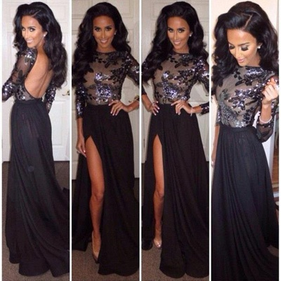 Sequins Long Sleeves Backless Prom Dresses Long Black High Side Slit Sexy Evening Gowns_2