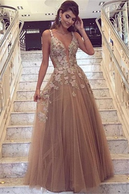 Chic Champagne Tulle  Straps Lace Appliques Prom Dresses_1
