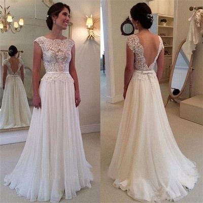Lace Chiffon Elegant Wedding Dress with Bowknot Sash Open Back Dresses for Bridal BA52_2