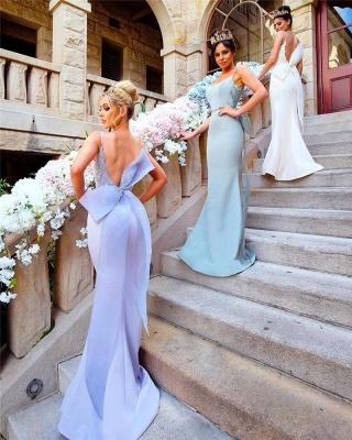 Fairy Mermaid Bowknot Open-Back Lace-Appliques Bridesmaid Dresses_3