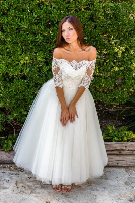 Ball Gown Simple Floor-length Half-sleeves Sexy Off The Shoulder Wedding Dresses_2