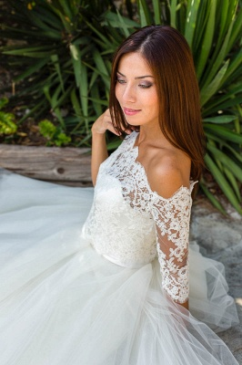 Ball Gown Simple Floor-length Half-sleeves Sexy Off The Shoulder Wedding Dresses_3