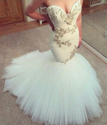 Sexy White Sweetheart Tulle Long Wedding Dress New Arrival Mermaid Custom Made Bridal Gowns_2