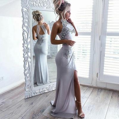 Sexy Schlitz Ärmellos Günstige Abendkleider | Abendkleider mit Stehkragen Applikationen Online_3