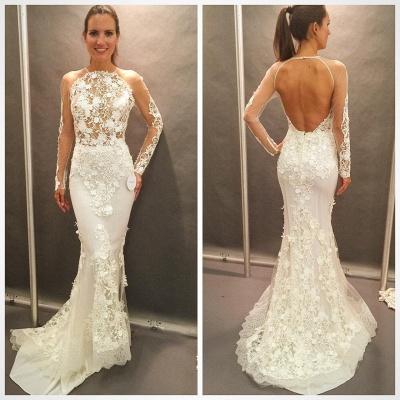 Open Back Glamorous Elegant Lace Appliques Long Sleeve Mermaid Wedding Dress Cheap_3