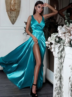 Turquoise Silk Satin Sexy Formal Dresses Cheap | V-neck Split Sleeceless Prom Dress BC0244_3