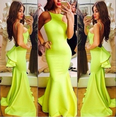 Sexy Yellow Evening Gowns Backless Sleeveless with Ruffles Back Mermaid Prom Dresses_8