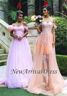 Appliques Gorgeous Lace Tulle Off-the-shoulder Prom Dress_2