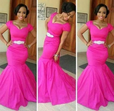Glamorous Mermaid Short Sleeves Prom Dresses V-Neck Crystal Evening Gowns_2