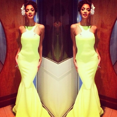 Sexy Yellow Evening Gowns Backless Sleeveless with Ruffles Back Mermaid Prom Dresses_1
