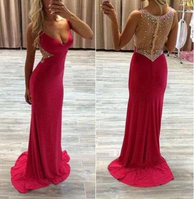 Modern Red Crystals MermaidProm Dress Sweep Train Zipper_3