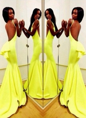Sexy Yellow Evening Gowns Backless Sleeveless with Ruffles Back Mermaid Prom Dresses_5