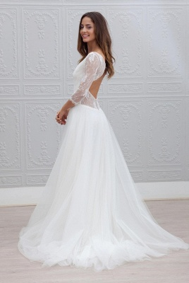Sweep Train Simple Open Back V-neck A-line Wedding Dresses Cheap_3