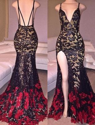 Side Slit Black Mermaid Spaghetti Straps Lace Red Long Prom Dresses Cheap_2