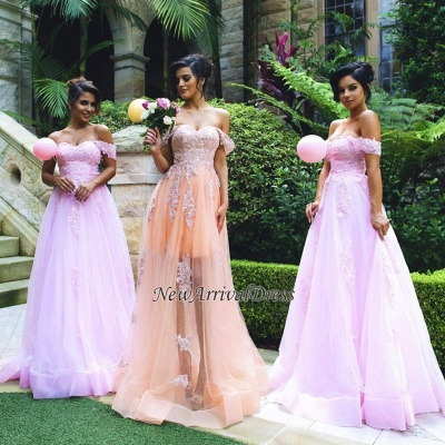 Appliques Gorgeous Lace Tulle Off-the-shoulder Prom Dress_1