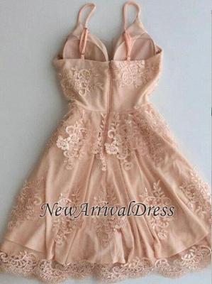 Cute Zipper Lace Sleeveless Spaghetti Straps Sexy Short Homecoming Dresses_1