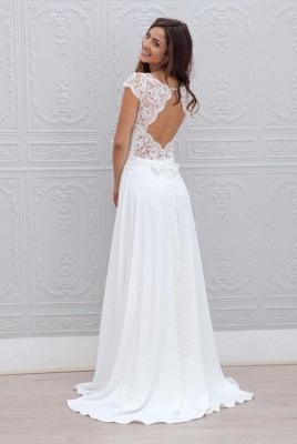Beautiful Simple Short Sleeve Elegant A-Line Sweep Train Open Back White Wedding Dresses_3