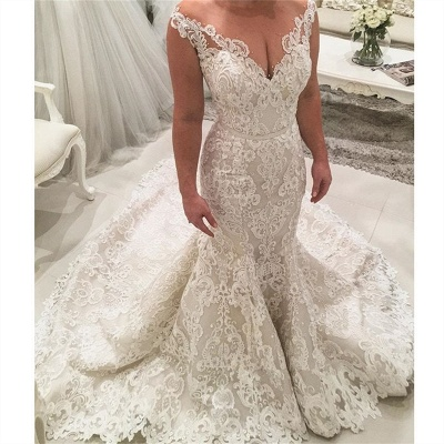 2019 Mermaid Lace Wedding Dresses Cheap | Sheer Tulle Sleeveless Sexy Bridal Gowns with Long Train_3