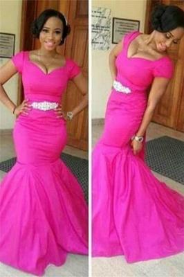 Glamorous Mermaid Short Sleeves Prom Dresses V-Neck Crystal Evening Gowns_1