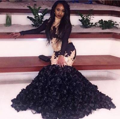 Black Long Sleeve Mermaid Prom Dress, black prom dress_3