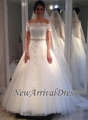 Off The Shoulder Sweep Train Lace Appliques A-line Short Sleeves Wedding Dresses_1