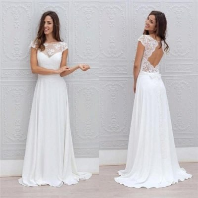 Beautiful Simple Short Sleeve Elegant A-Line Sweep Train Open Back White Wedding Dresses_4