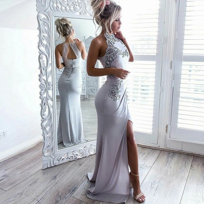 Sexy Slit Sleeveless Cheap formal Dresses | High Neck Appliques Evening Gowns Online_3