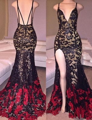Side Slit Black Mermaid Spaghetti Straps Lace Red Long Prom Dresses Cheap_2