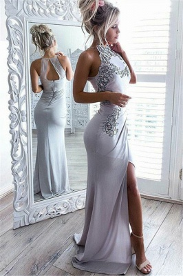 Sexy Slit Sleeveless Cheap formal Dresses | High Neck Appliques Evening Gowns Online