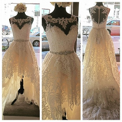 Button Sleeveless Glamorous Lace Appliques Designer Tulle New Arrival Wedding Dresses_3