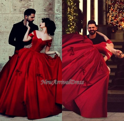 Off-the-Shoulder Red Long Satin Ball-Gown Gorgeous Evening Dresses_1