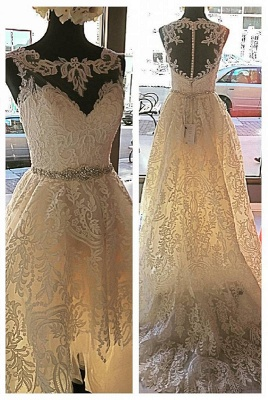 Button Sleeveless Glamorous Lace Appliques Designer Tulle New Arrival Wedding Dresses_2