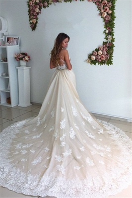 Gorgeous Mermaid Lace Detachable Cathedral Train Tulle Wedding Dresses Cheap Online_3