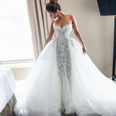 Strapless Sexy Lace Wedding Dresses Cheap | Puffy Tulle Overskirt Bride Dresses_3
