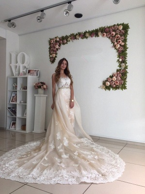 Gorgeous Mermaid Lace Detachable Cathedral Train Tulle Wedding Dresses Cheap Online_6