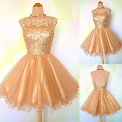 Gold Sequins Appliques Shiny Puffy Sexy Short Homecoming Dresses_3