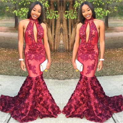 New Arrival Mermaid High Neck Prom Dresses Appliques Formal Gowns with Beads SK0115_3