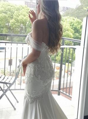 Elegant New Arrival Mermaid Sexy Off The Shoulder Train Beautiful Lace Appliques Wedding Dresses_4