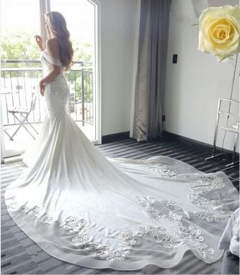 Elegant New Arrival Mermaid Sexy Off The Shoulder Train Beautiful Lace Appliques Wedding Dresses_6