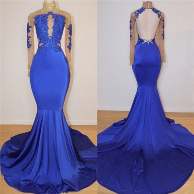 Royal Blue Long Prom Dresses Cheap for Juniors Online | Open Back Mermaid Appliques Evening Gowns BC0717_3